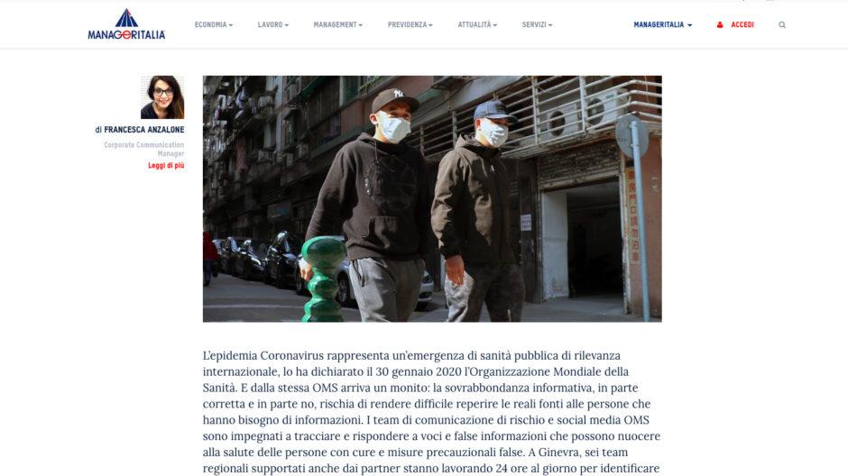 CORONAVIRUS INFODEMIA Francesca Anzalone per Manageritalia
